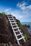 escalera de madera que eso lleva a la opinión del mar foto de archivo libre de regalías