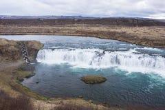 Escalera de pescados en el río en Islandia Fotografía de archivo libre de regalías