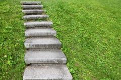 Escalera de piedra entre hierba verde Fotos de archivo libres de regalías