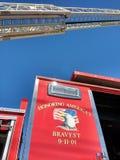 Escalera del coche de bomberos, el 11 de septiembre de 2001, honrando el más valiente, los E.E.U.U. Imágenes de archivo libres de regalías