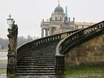 Escalera del palacio de Sanssouci en invierno. Potsdam Imagen de archivo