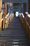 Escalera dentro de una construcción de madera imagen de archivo libre de regalías