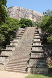 Escalera en el sitio arqueológico Sri Lanka de Yapahuwa foto de archivo