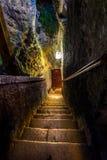 Escalera en un castillo antiguo Imágenes de archivo libres de regalías