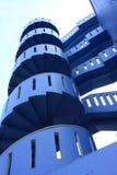 Escalera espiral azul Imagen de archivo libre de regalías