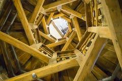 Escalera espiral de madera Imagen de archivo libre de regalías