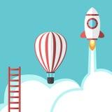 Escalera, globo y cohete ilustración del vector