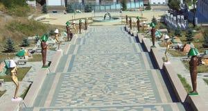 Escalera interesante en Stepanakert, Nagorno- Imagen de archivo