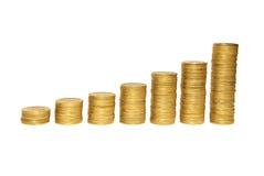 Escalera a la abundancia de monedas de oro Fotografía de archivo libre de regalías