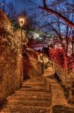 Escalera a la ciudad superior Fotografía de archivo