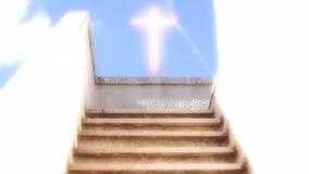Escalera a la cruz del cielo ilustración del vector