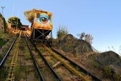 Escalera móvil del ferrocarril funicular, Valparaiso, Chile Imagen de archivo