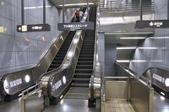 Escalera móvil del subterráneo Fotografía de archivo