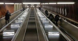 Escalera móvil en el subterráneo en Estocolmo Imagen de archivo