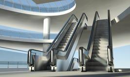 Escalera móvil móvil y edificio de oficinas moderno Fotos de archivo