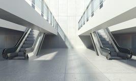 Escalera móvil móvil y edificio de oficinas moderno Imágenes de archivo libres de regalías