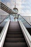 Escalera móvil y la torre reflejada del Rin Fotos de archivo libres de regalías