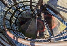 Escalera oxidada del espiral del hierro Imagen de archivo