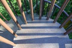 Escalera oxidada del espiral del hierro Imágenes de archivo libres de regalías
