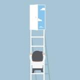 Escalera que sube del hombre de negocios a la puerta de la libertad ilustración del vector