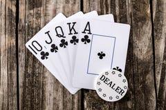 Escalera real - póker Foto de archivo