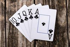 Escalera real - póker fotos de archivo