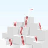 Escalera roja de la escalera hasta concepto del negocio del éxito Imagen de archivo libre de regalías