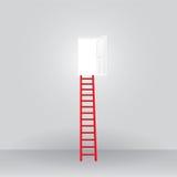 Escalera roja hasta el éxito abierto de la puerta Foto de archivo