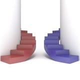 Escalera roja y azul abstracta Foto de archivo