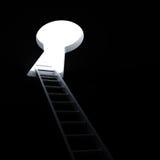 Escalera a través del ojo de la cerradura a la luz brillante Imagen de archivo libre de regalías