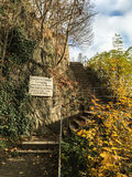Escalera a Veste Oberhaus en Passau, Alemania Fotografía de archivo libre de regalías
