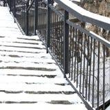 Escalera y barandilla en gran parte Imagen de archivo libre de regalías