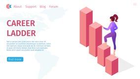 Escalera y crecimiento de la carrera de la bandera para la mujer moderna ilustración del vector