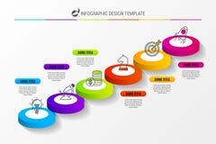 Escaleras abstractas 3d infographic o plantilla de la cronología Vector Imágenes de archivo libres de regalías