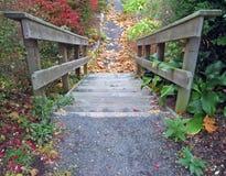 Escaleras al aire libre en otoño Foto de archivo libre de regalías