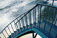 Escaleras al río ice-covered Imagen de archivo libre de regalías