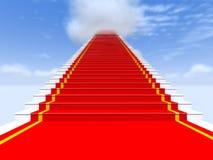 Escaleras, alfombra roja, el cielo con las nubes Fotos de archivo libres de regalías