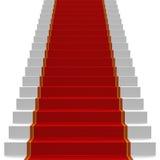 Escaleras blancas cubiertas con la alfombra roja Fotografía de archivo