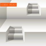 Escaleras blancas en el fondo blanco Imagen de archivo
