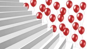 Escaleras brillantes blancas del primer con los globos rojos en fondo Imagen de archivo libre de regalías