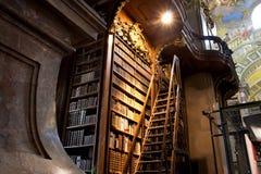 Escaleras cerca del estante para libros alto dentro del gran Aus Imagen de archivo libre de regalías