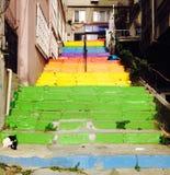 Escaleras coloridas en Estambul Turquía foto de archivo