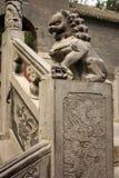 Escaleras con el león de piedra en parque chino Imágenes de archivo libres de regalías