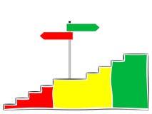 Escaleras con la muestra, hacia arriba o hacia abajo Fotos de archivo libres de regalías