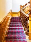 Escaleras con la tira de la alfombra Imagen de archivo