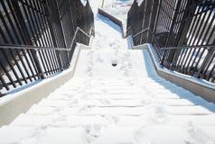 Escaleras con nieve Fotografía de archivo libre de regalías