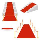 Escaleras con una alfombra roja, una escalera para las celebridades ilustración del vector