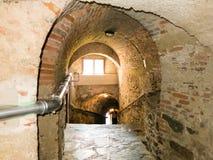 Escaleras de Grubelgasse que descienden al río Danubio en Durnstein, Wach Fotos de archivo libres de regalías