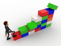 escaleras de la subida del hombre 3d del concepto de los cubos Fotos de archivo libres de regalías