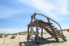 Escaleras de madera en el desierto Imágenes de archivo libres de regalías